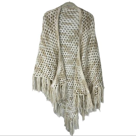 Vintage crocheted cream tan fringe shawl
